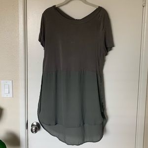 Olive green tee with sheer flowy bottom